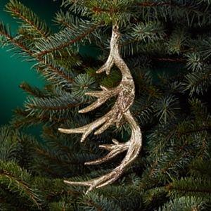 Set of 2 Glittered Antler Ornaments